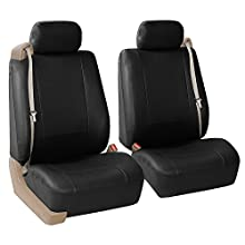 FH Group PU309BLACK102 Black Front PU Leather Seat Cover, Set of 2 (Set Built in Seat Belt Compatible Airbag Ready)