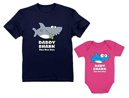 Baby Shark Bodysuit & Daddy Shark T-Shirt Doo Doo Doo Funny Set Newborn & Dad Daddy Navy X-Large/Baby Wow Pink 12M (6-12M)