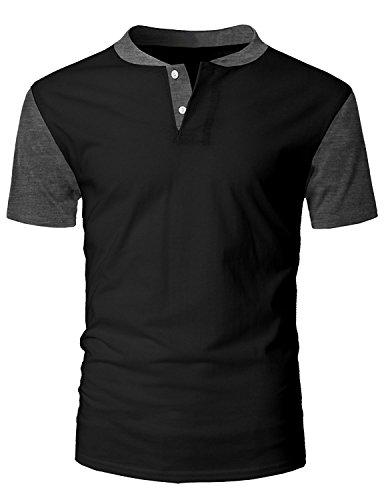 Raglan Tone T-shirt (Tutorutor Mens Henley Shirts Short Sleeve Raglan Golf Baseball Tees Slim Fit Crew Neck T Shirt)