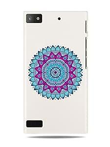 "GRÜV Premium Case - ""Yoga Hindu Pink and Blue Mandala Digital Art"" Design - Best Quality Designer Print on White Hard Cover - for Blackberry Z3"