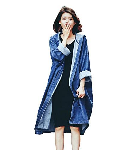 Women Autunno Monocromo Jeans Denim Donna Manica Con Giacche Elegante Di Windbreaker Blau Trench Lunga Giovane Casual Cappuccio Mantello Moda Baggy AzUYTqRw