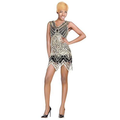 [Clothingloves Sequin Dress For Women's 1920s Gastby Vintage Art Nouveau Embellished Flapper Dress] (Plus Size Black Jazz Flapper Costumes)