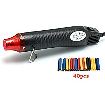 Mini Heat Gun, Hot Air Gun Tools Shrink Gun with Stand For DIY Embossing And Drying Paint Multi-Purpose Electric Heating Nozzle 300W 110V (Black)