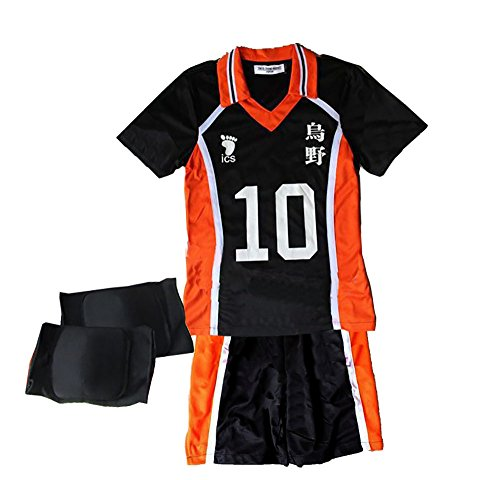 TOKYO-T Haikyuu Costume Uniform Hinata Cosplay Outfit With Knee Supporter (Haikyuu Cosplay Costume)