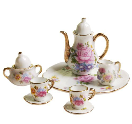Dollhouse Tea - 8pcs Dining Ware Porcelain Tea Set Dish Cup Plate 1/6 Dollhouse Miniature -Pink Rose