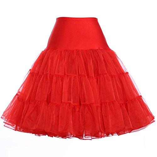 Elastic Band Petticoat Knee Length Underskirt (S,Red)