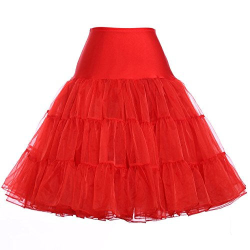 Dotted Halter Dress - 50s Crinoline Petticoat Red Netting Underskirt (XL,Red)