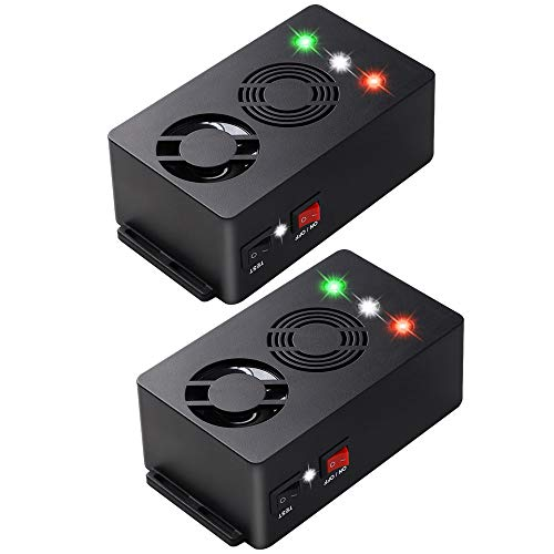 Angveirt Battery Operated Rodent Repellent Pest Repeller Electronic Ultrasonic Mouse Repeller with Strobe Lights Mice Car Deterrent Under Hood Animal Repeller, 2 Pack