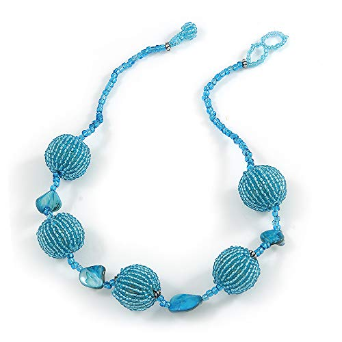 Avalaya Light Blue Glass Ball Bead and Sea Shell Nugget Necklace - 47cm Long (Nugget Pearl Long Necklace)