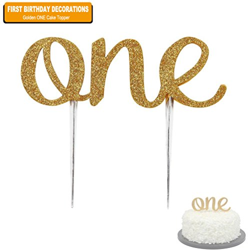 (EDBETOS Handmade 1st First Birthday Cake Topper Decoration - One Cake Topper with Double Sided Gold Glitter Stock for Baby Girl Boy First Birthday)