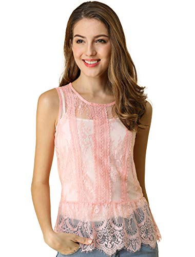 (Allegra K Women's See-Through Sleeveless Allover Lace Peplum Tops XS Pink)