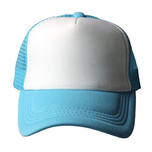 Shensee Unisex Mesh Baseball Cap Trucker Hat Blank Curved Visor Adjustable Hat (light blue)