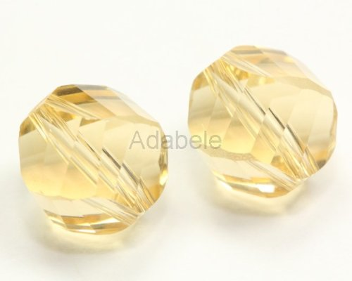 24 8mm Adabele Austrian Helix Crystal Beads Gold Champagne Alternative For Swarovski Preciosa Crystalized Beads 5020 #SSH-828