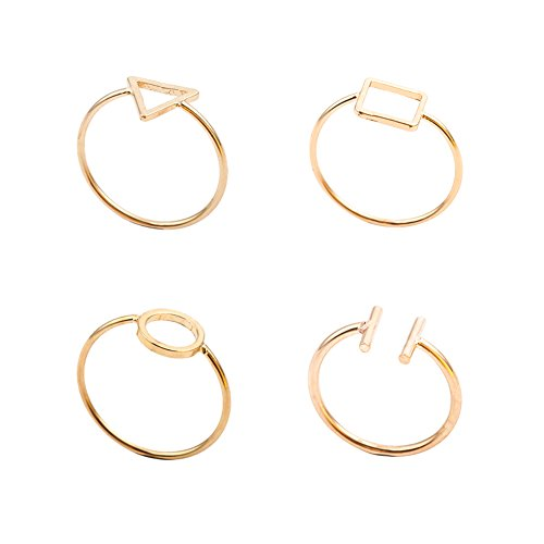Velsinity Gold Midi Ring Set Geometric Knuckle Rings Triangle Square Circle Open Ring for Women Girls (Ring Design Circle)