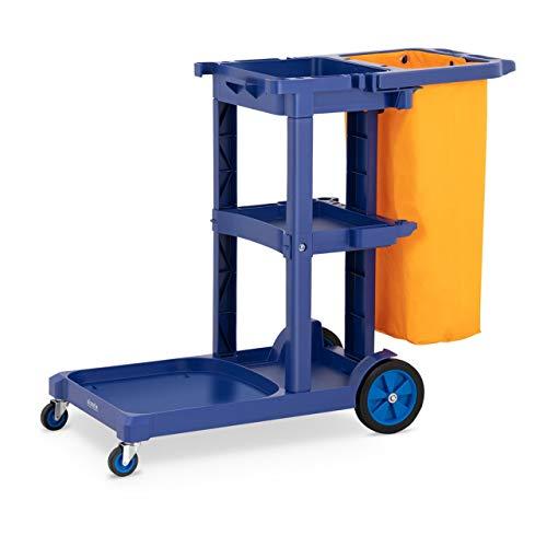 ulsonix UNICLEAN 12 Cleaning Janitoriale Hotel Trolley Cart (Laundry Bag Geel, Deksel, Plastic, 3 Niveaus)