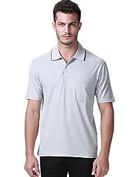 SSLR Men's Summer Two Button Short Sleeve Polo Shirt (X-Small, Grey X11(Army Green Collar))
