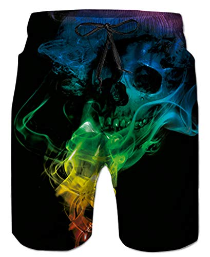 Uideazone Men's Quickly Drying Board Shorts Smoke Skull Printed Swim Trunks Holiday Beach -