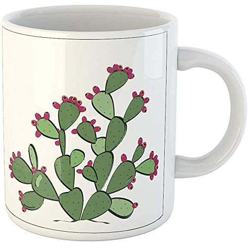 Funny Gift Coffee Mug Green Bloom Prickly Pear Cactus with Ripe Fruits Pink Botany Cacti Color Desert 11 Oz Ceramic Coffee Mug Tea Cup Souvenir