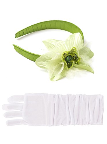 [Little Adventures Lily Pad Princess Headband & White Glove Set for Girls - One-Size (3+ Yrs)] (Princess Tiana Disney Costume)