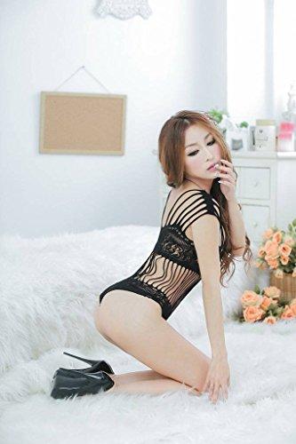 for Transparent Q Lingerie Black Nightwear Hosiery Xiang Women Bodysuit Ru Floral xOnUqw4t