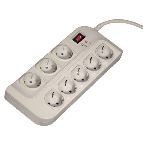 Hama 8-fach Steckdosenleistemit Schalter (1,5m Kabellänge,mit Kindersicherung, Überspannungsschutz, EMI-/RFI-Rausch-Filter), weiß