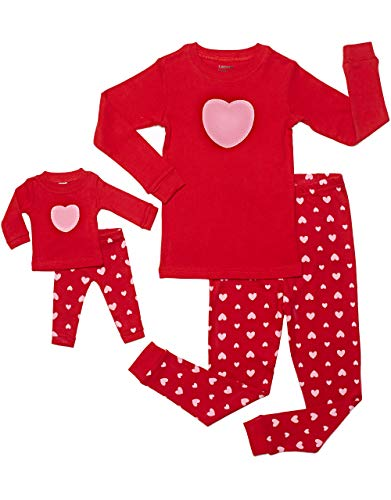Leveret Kids & Toddler Pajamas Matching Doll & Girls Pajamas 100% Cotton Pjs Set (Hearts,6 Years)