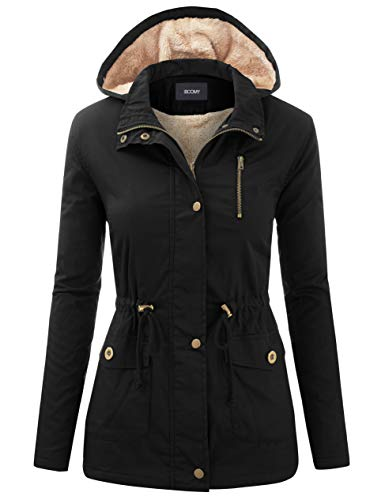 FASHION BOOMY Women's Zip Up Safari Military Anorak Jacket with Hood Drawstring - Regular and Plus Sizes Medium G-Black (Zara Parka Jacket Women)