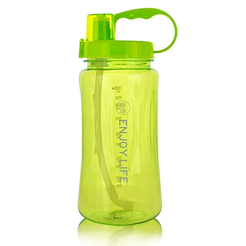 M MOACC Water Bottle with Straw Large Capacity Big Plastic Bottle Leak Proof with Scale for Adult Travel Camping-Green
