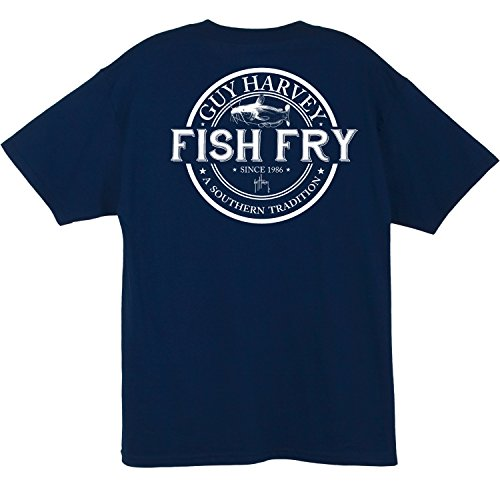 Guy Harvey Fish Fry S/S Pocket T-shirt (XXX-Large, Navy) - Fish Short Sleeve Tee