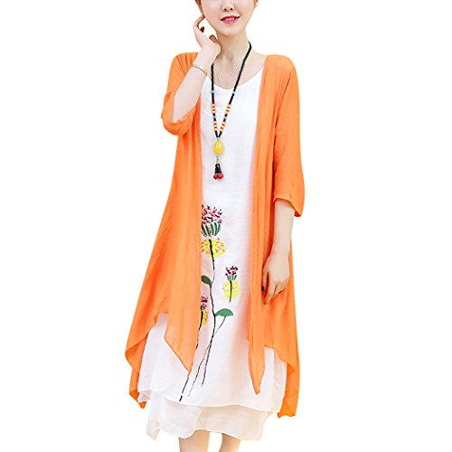 HÖTER Women's Oriental Beauty Folk Style Irregular Maxi Painting Cotton Linen Casual Two Piece Suit Loose Dress Orange