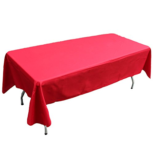 Red Fabric Tablecloth - KAITATSU SEN Rectangular Polyester Fabric Tablecloth, Red, 60x126-inch