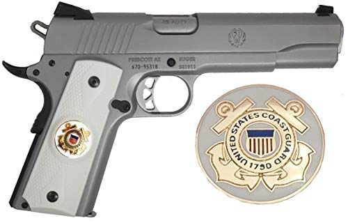 (Garrison Grip 1911 Colt Full Size and Clones with US Coast Guard Medallion Set in Light Ivory Polymer)