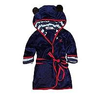 Happy childhood Baby Boys Girls Cartoon Bathrobe Soft Coral Fleece Infant Toddler Muticolored Sleepwear Outfit (Navy Blue, Size 90: 1-2T)