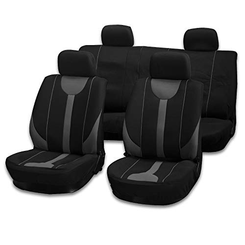 cciyu Seat Cover Universal Car Seat Cushion W/Headrest Covers - 100% Breathable Car Seat Cover Washable Auto Covers Replacement fit for Most Cars(Black/Gray)