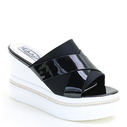 New Brieten Womens Platform Wedge Sandals Black-pat N11CT6ZOnw