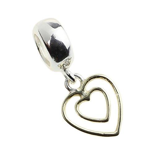 Beads Hunter 925 Sterling Silver Dangle Charm Heart in Heart Fit Pandora Bracelets