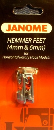 4mm /& 6mm Janome Hemmer Feet for Horizontal Rotary Hook Models