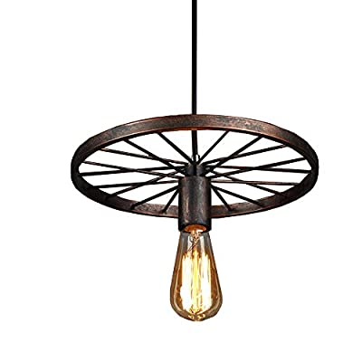 Industrial Rustic Wagon Wheel Chandeliers Pendant Light Fixture for Kitchen Island,Dining Room (Copper)