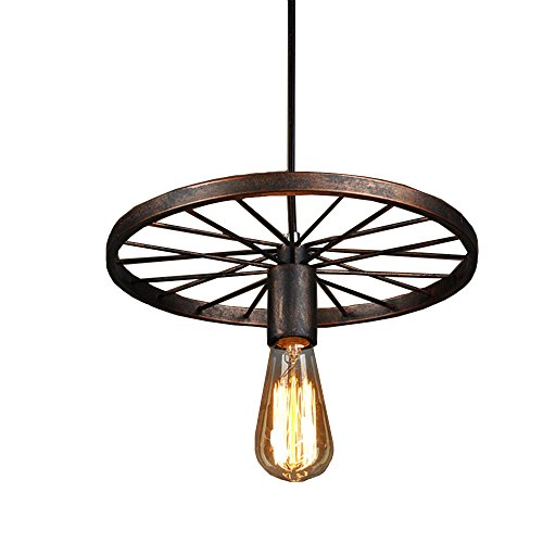 Wagon Wheel Lighting (Industrial Rustic Wagon Wheel Chandeliers Pendant Light Fixture for Kitchen Island,Dining Room (Copper))