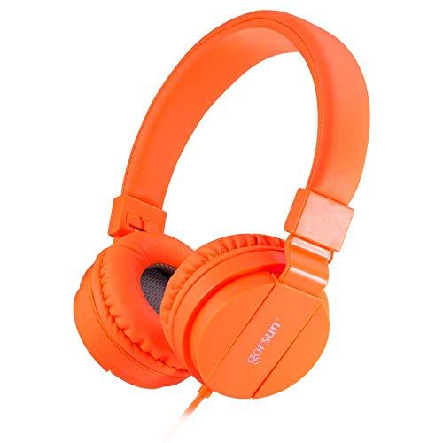 - ONTA gorsun Foldable On Ear Audio Adjustable Lightweight Headphone for chlidren Cellphones Smartphones iPhone Laptop Computer Mp3/4 Earphones (Orange)