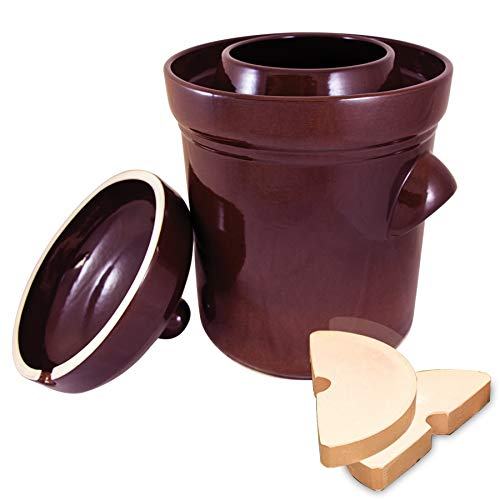 Polish Fermenting Crock with Stone Weights, 15 L, Burnt Sienna