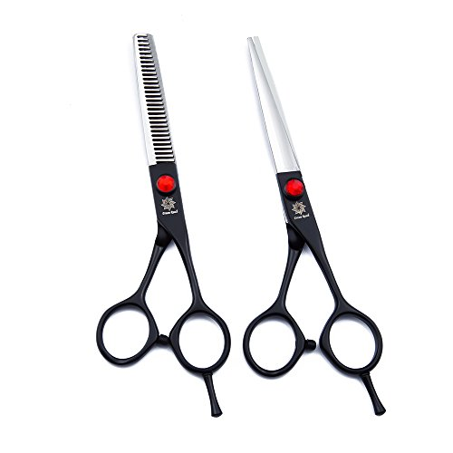 """Discount Dream Reach Professional Barber Scissor Hair Cutting Scissors 6"""" and Texturizing/Thinning Shears 6"""" Scissors Set with Free Bag (Black) for sale"""