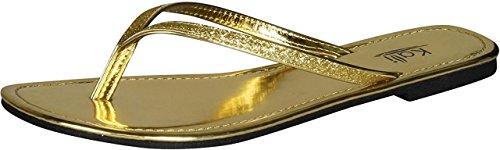 Kali Footwear Women's Focus Glitter Flip Flops, Gold 9