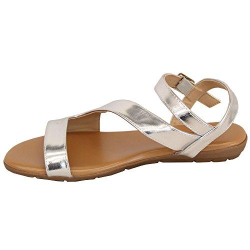 MCM Ladies Flat Sandals Slip On Womens Open Toe Buckle Shoes Wedding Fashion Summer Silver - 839733 yc7gBF