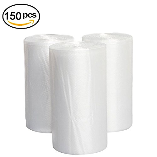 4 Gallon Clear Trash Bags, JORRIS Small Rubbish Bags 15-Liters Clear Wastebasket Liners Bags for Small Office, Bathroom and Coffee Station Wastebaskets Bin (Clear, 150 Counts/ 3 Rolls)