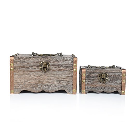Decorative Antique Rustic Style Wooden Nesting Boxes / Mini Dresser-Top Jewelry Organizer Chests - 2 Piece Nested Accent Tables