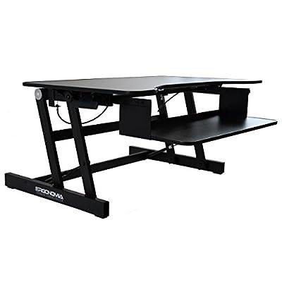 Ergonomia Height Adjustable Standing Sit to Stand Desk Riser, Black