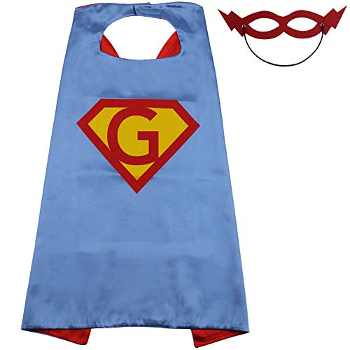 Superhero Capes for Kids, Toddler Capes for Boys, Superhero Capes for Girls, Custom Initial Superhero Capes for Kids (Cape-G)