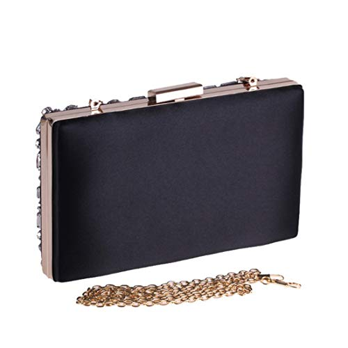 Vintage Evening Black Clutch Square Bag JESSIEKERVIN Bag Women's Pearl aRwqqz