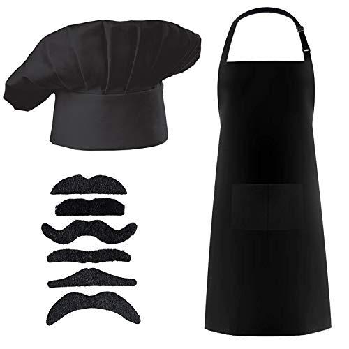 3Pcs Chef Costume Set - Chef Hat/Cooking Cap,Baker Kitchen Chef Coat Bib Aprons,Fake Beard Moustache,Black -